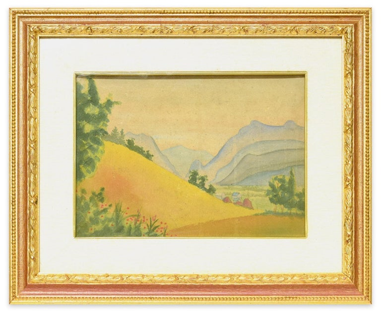 Mountainous Landscape - Original Watercolor on Cardboard by M. Carion - 1930s 2