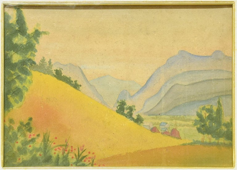Mountainous Landscape - Original Watercolor on Cardboard by M. Carion - 1930s 1