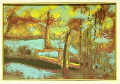 TheLake - Original Tempera on Cardboard by Marius Carion - 1940s