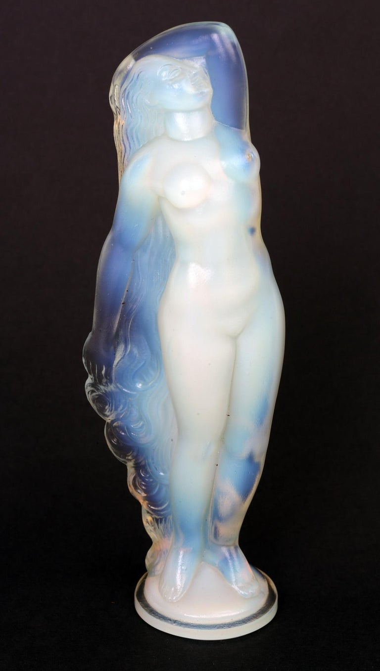 Marius Ernest Sabino French Art Deco Opalescent Glass Nude Figure For Sale 4