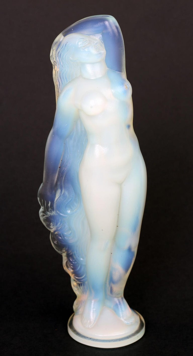 Marius Ernest Sabino French Art Deco Opalescent Glass Nude Figure For Sale 7