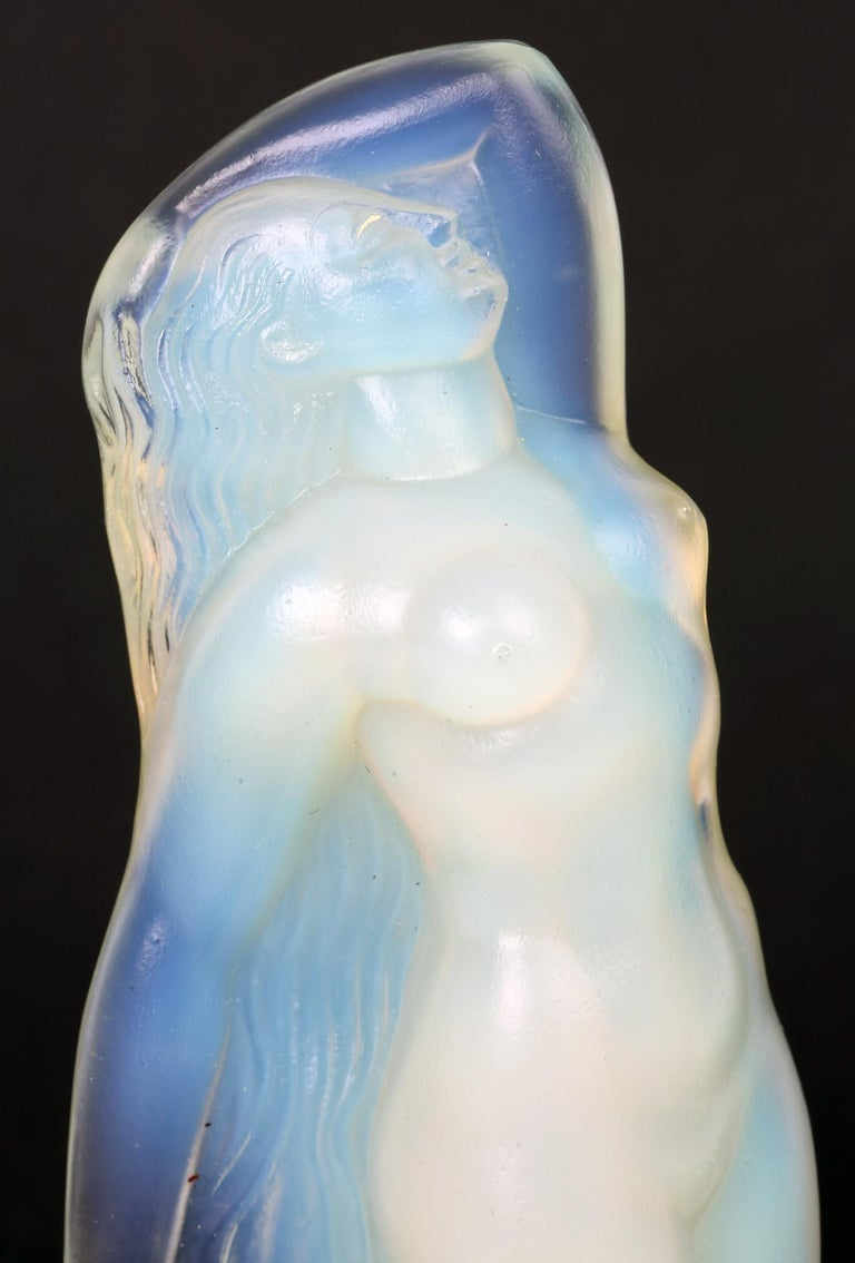 Marius Ernest Sabino French Art Deco Opalescent Glass Nude Figure For Sale 8