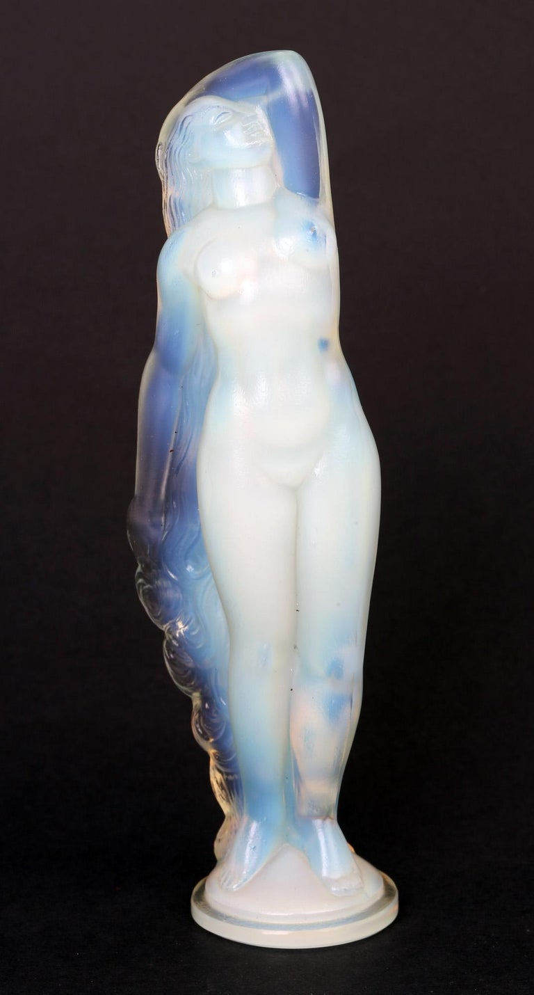 Marius Ernest Sabino French Art Deco Opalescent Glass Nude Figure For Sale 9