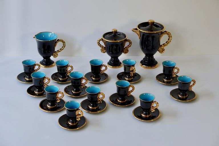 Marius Giuge Fine Gilded Ceramic Tea and Coffee Set, Vallauris, circa 1960s For Sale 4