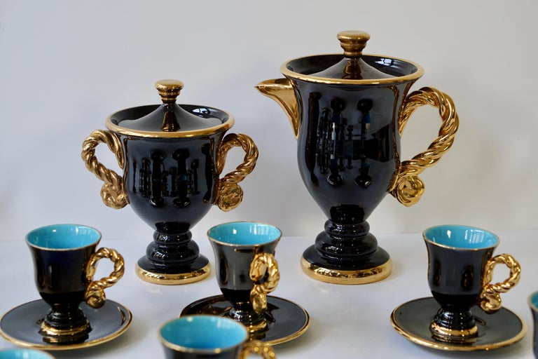 Marius Giuge Fine Gilded Ceramic Tea and Coffee Set, Vallauris, circa 1960s For Sale 5