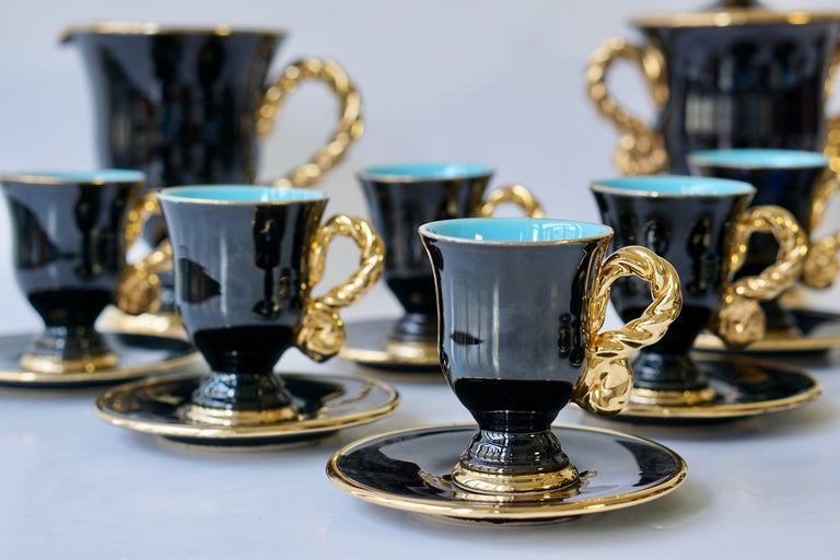 Marius Giuge Fine Gilded Ceramic Tea and Coffee Set, Vallauris, circa 1960s For Sale 7