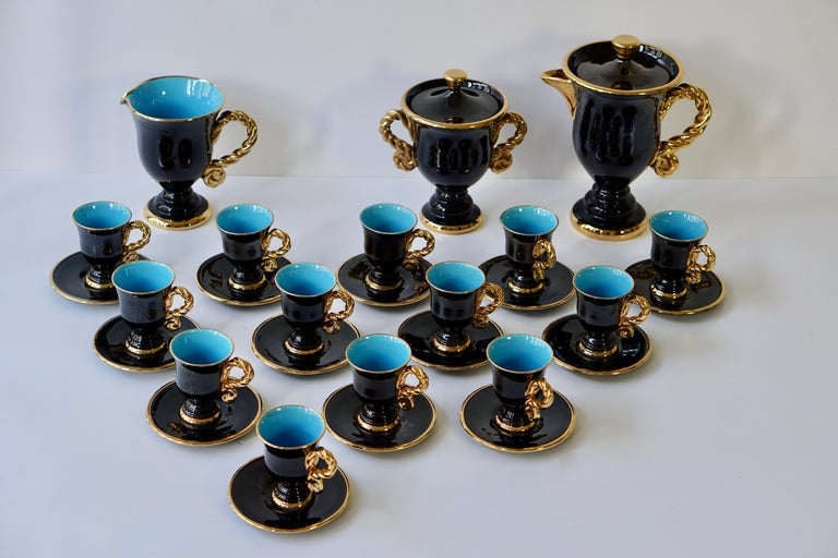 Mid-Century Modern Marius Giuge Fine Gilded Ceramic Tea and Coffee Set, Vallauris, circa 1960s For Sale