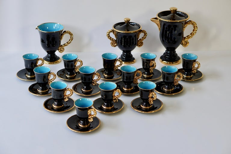 Italian Marius Giuge Fine Gilded Ceramic Tea and Coffee Set, Vallauris, circa 1960s For Sale