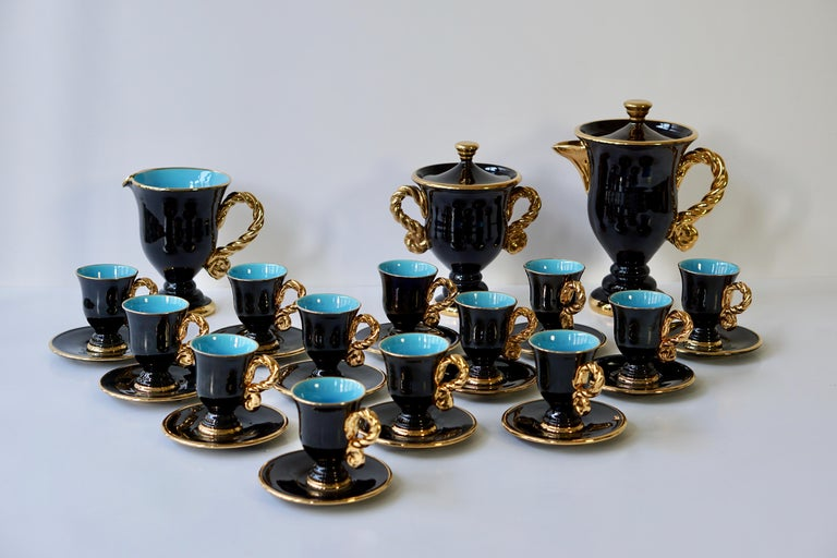Gilt Marius Giuge Fine Gilded Ceramic Tea and Coffee Set, Vallauris, circa 1960s For Sale