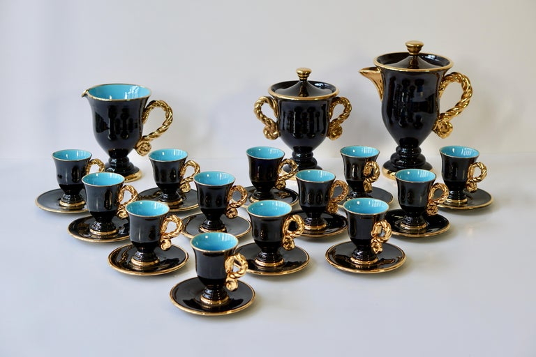 20th Century Marius Giuge Fine Gilded Ceramic Tea and Coffee Set, Vallauris, circa 1960s For Sale