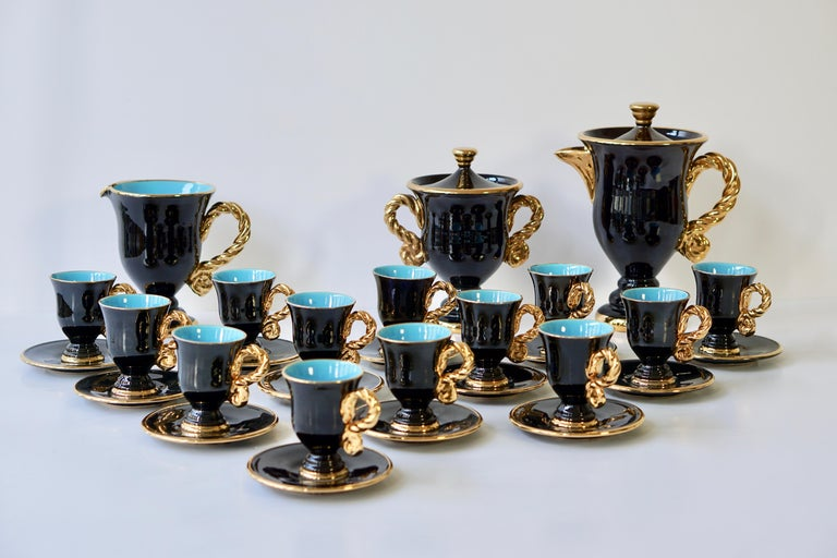Marius Giuge Fine Gilded Ceramic Tea and Coffee Set, Vallauris, circa 1960s For Sale 1