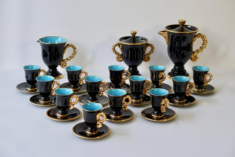 Marius Giuge Fine Gilded Ceramic Tea and Coffee Set, Vallauris, circa 1960s For Sale 2