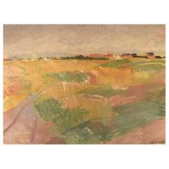 Marius Hammann, Danish Painter, Oil on Canvas, Modernist Landscape