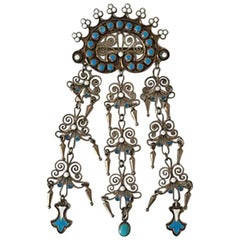 Marius Hammer Art Nouveau Sterling Silver Brooch with Enamel, Norway