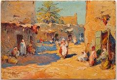 "Orientalist Painting: ""Moroccan Village-1927"""
