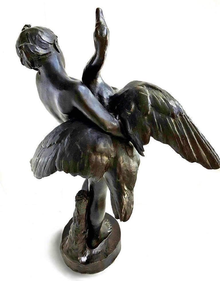 Nude Girl and Swan Bronze - Sculpture by Marius Jean Antonin Mercié