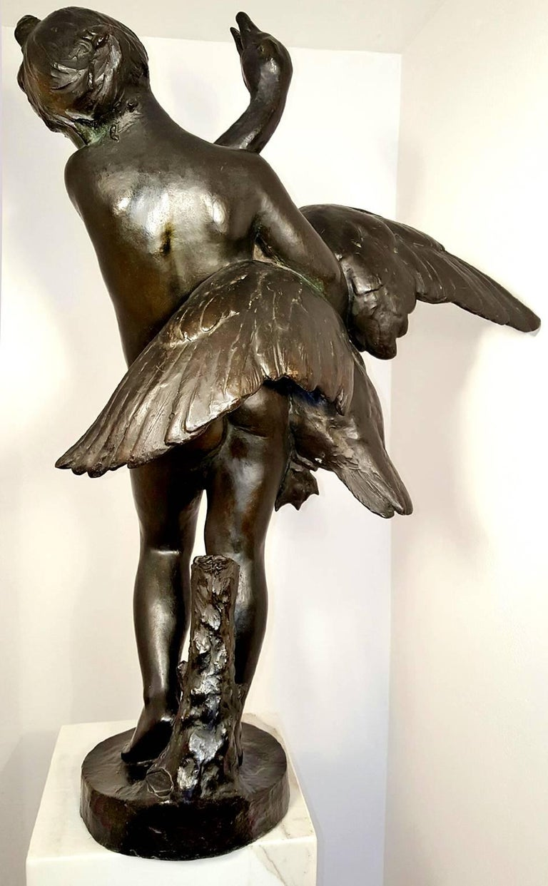 Nude Girl and Swan Bronze - Gold Nude Sculpture by Marius Jean Antonin Mercié