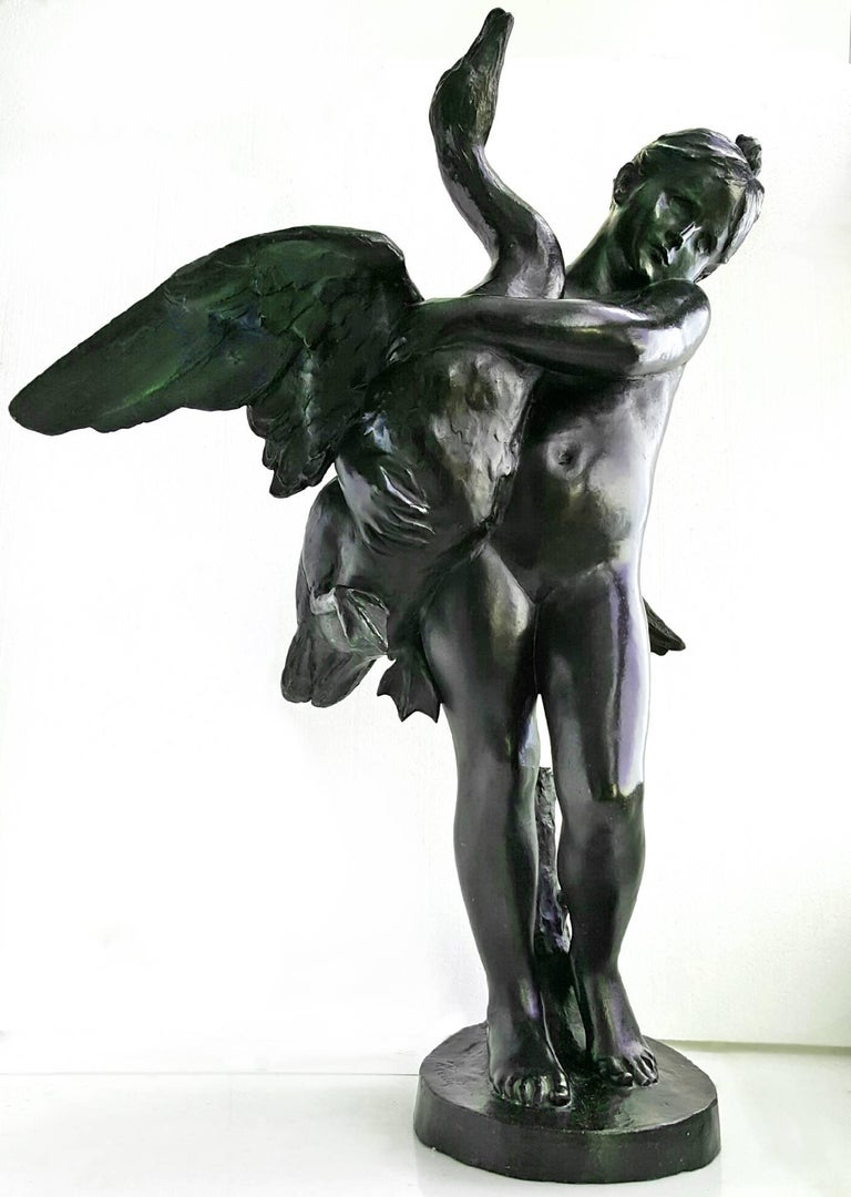 This stylized figural study captures a young girl restraining a struggling swan trying to take flight.   His technique is looser and more gestural than most of his earlier historical work.   The work is quite heavy weighing in about 65 lbs and