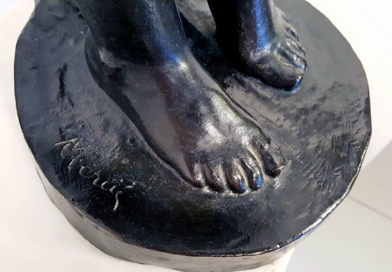 Nude Girl and Swan Bronze For Sale 1