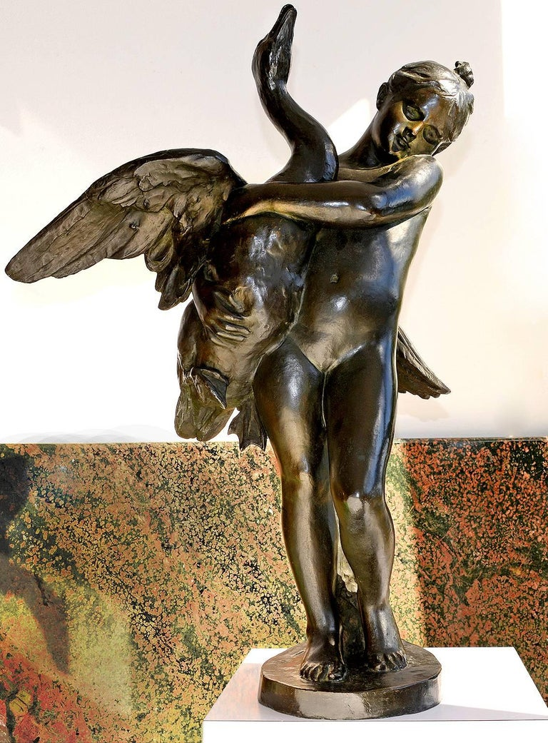 Marius Jean Antonin Mercié Nude Sculpture - Nude Girl and Swan Bronze