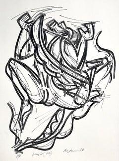 ICARUS 2 Hand Drawn Lithograph, Expressionist Portrait, Greek Mythology