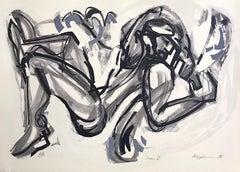 ICARUS I Hand Drawn Lithograph, Black White Abstract Man, Greek Mythology