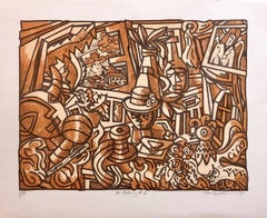 "Large Venezuelan Modernist Lithograph ""The Balcony #3"" Color Print"