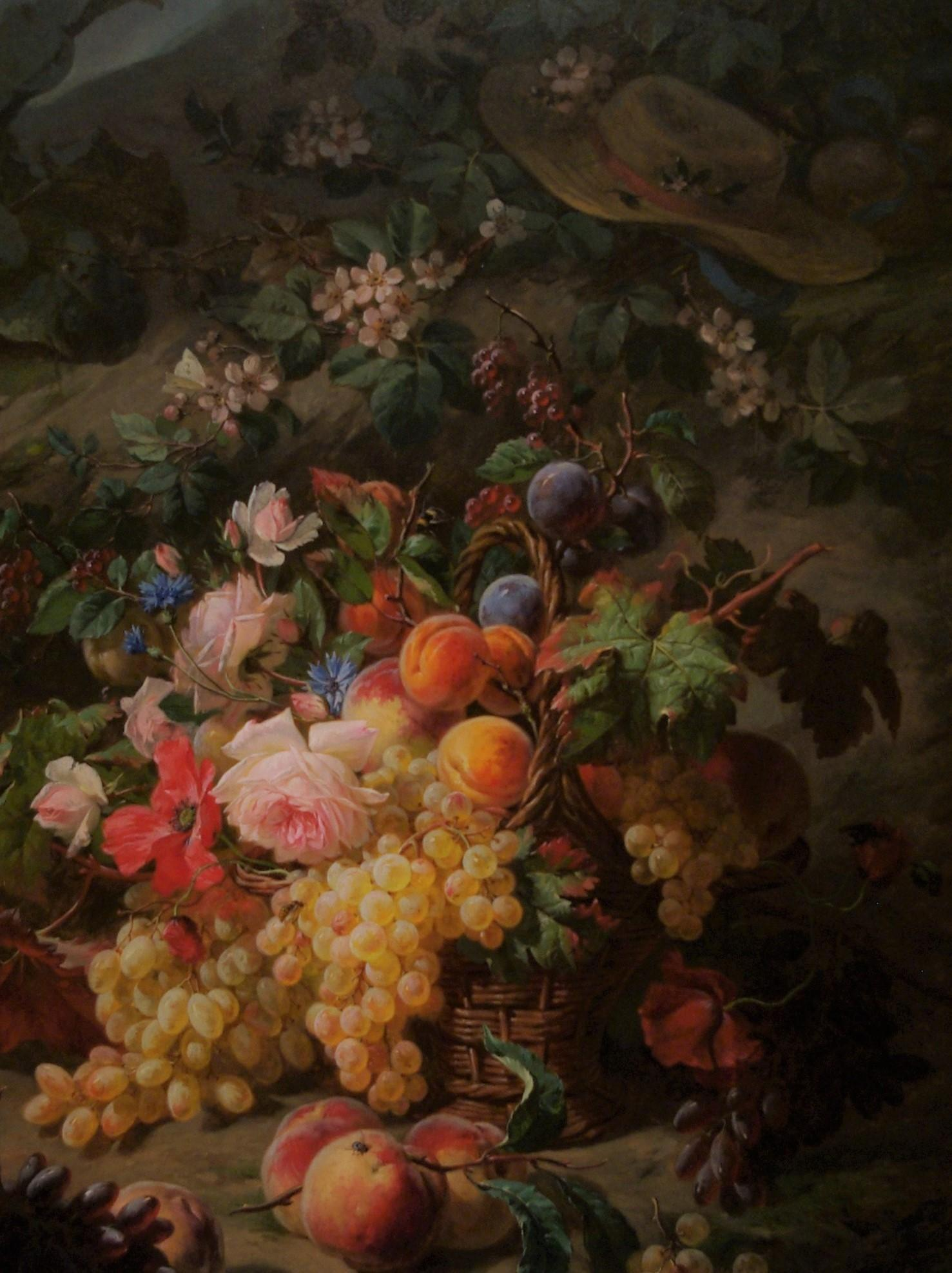 A Still Life of Fruits and Flowers on a Mossy Bank
