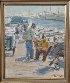 Fishermen in the Port of Cannes, mid 20th Century Oil on Canvas.