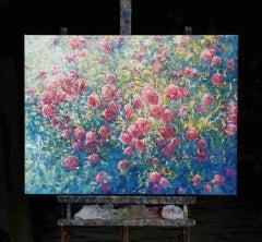 Mariusz Kaldowski, Abundance of Roses, Original Landscape Painting, Bright Art