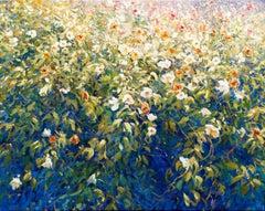 Mariusz Kaldowski, Wild Rose Wall, Original Flower Painting, Affordable Painting