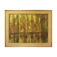 """Marjorie Bishop """"New York Sunset"""" Painting with Sand on Canvas 1940s 'Signed'"""