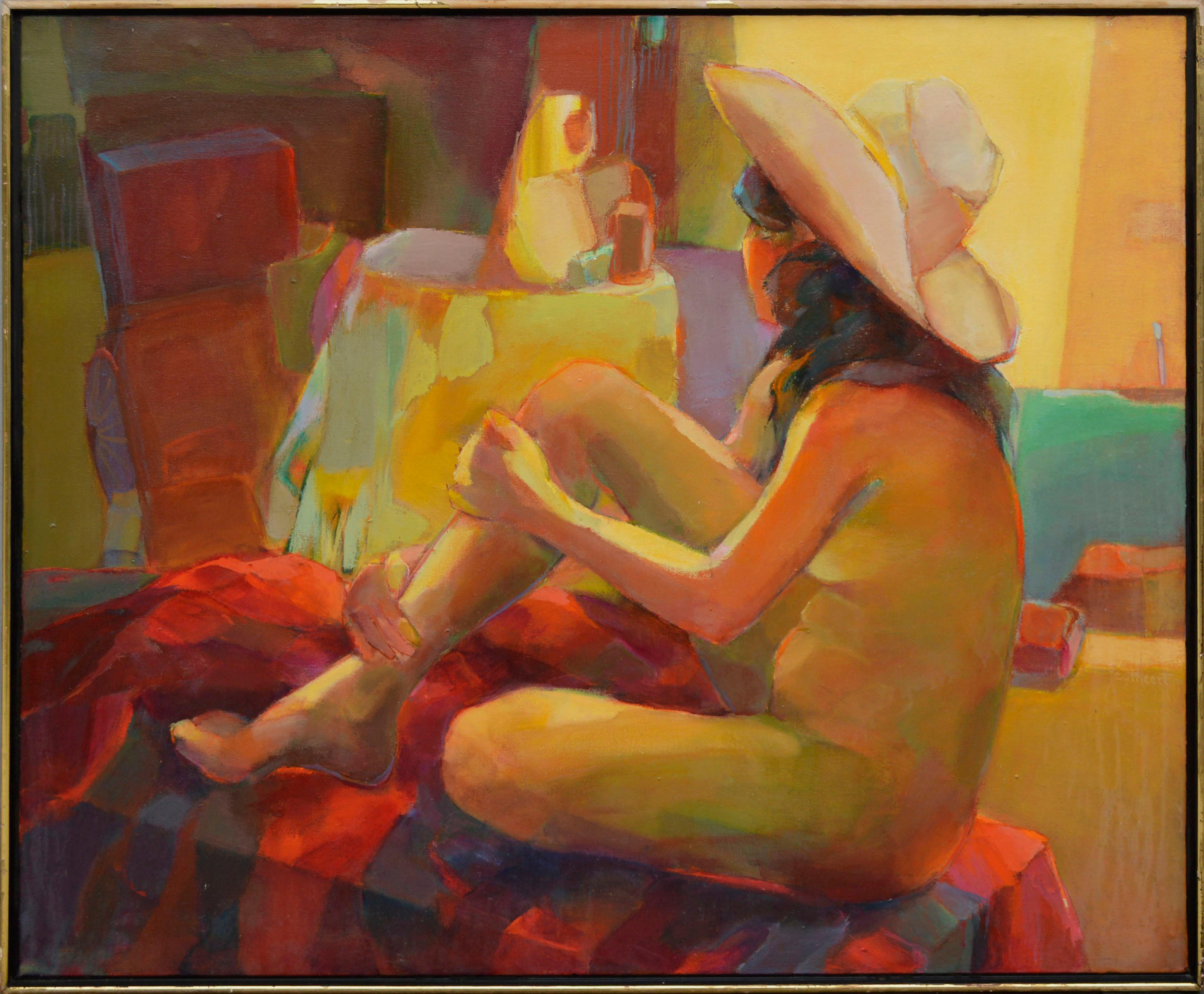 """""""Cabaña"""" - Bay Area School Expressionist Seated Figure with Cowboy Hat"""