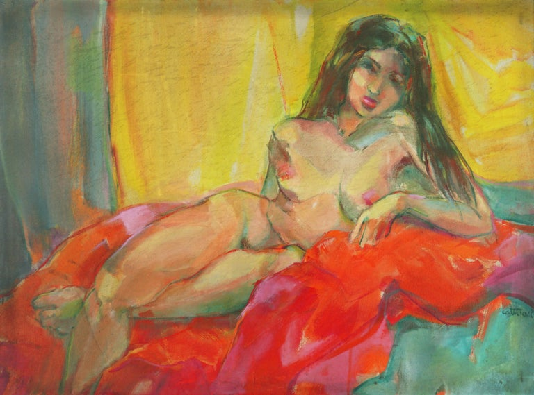 Brunette Nude Study - Bay Area Figurative - Painting by Marjorie Cathcart