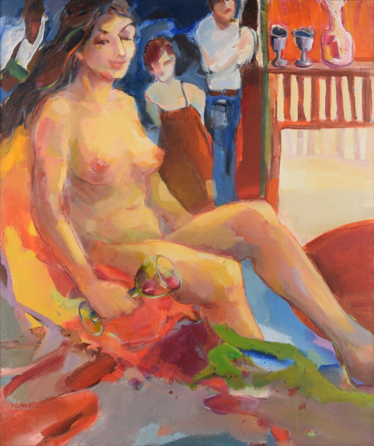 Nude with Wineglass - Bay Area Figurative - Painting by Marjorie Cathcart