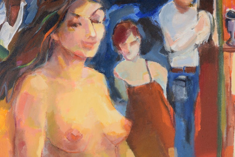 Nude with Wineglass - Bay Area Figurative - Abstract Impressionist Painting by Marjorie Cathcart