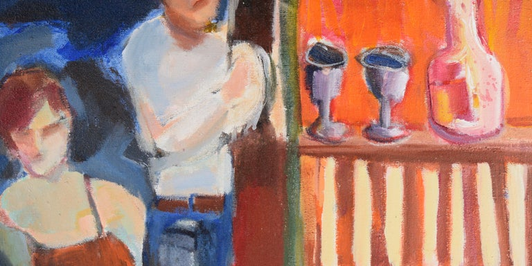 Nude with Wineglass - Bay Area Figurative - Brown Figurative Painting by Marjorie Cathcart