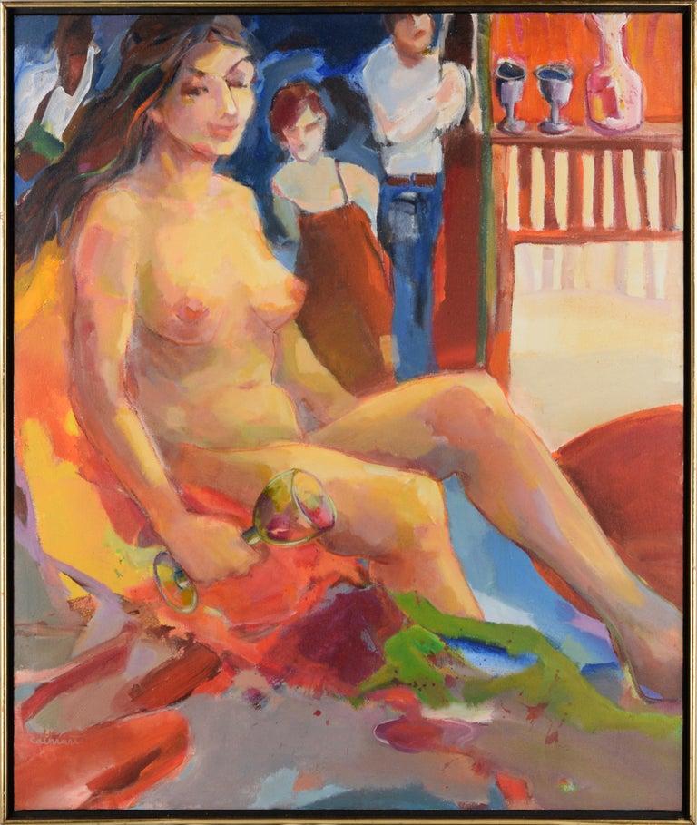 Marjorie Cathcart Figurative Painting - Nude with Wineglass - Bay Area Figurative