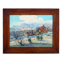 Marjorie Reed Oil on Board, Military Escort of the U.S. Mail Cochise Country