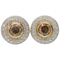 Mark Areias J. Handmade Brown & White Diamond Pave Halo Earrings