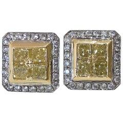 Mark Areias J. Handmade Fancy Yellow & White Diamond Square Halo Earrings