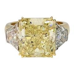 Mark Areias J. Handmade Platinum & 18K Fancy Yellow Diamond Ring
