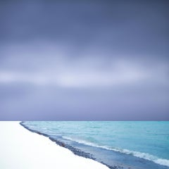 Lakeshore, Landscape Photograph of White Winter Beach Shore with Snow, Blue Sky