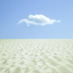 Last Resort, Landscape Photograph of Sandy Beach with Cloud in Pale Blue Sky