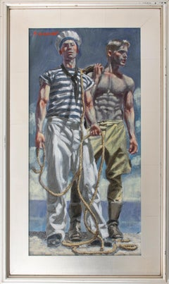 A Sailor and His Friend (Academic Male Figurative Painting by Mark Beard)