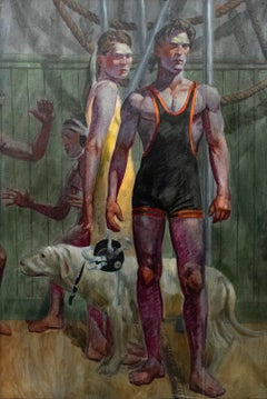 A Wrestler, His Girlfriend, Their Dog (Figurative Oil of Athletes by Mark Beard)