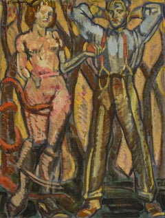 Adam & Eve in Twickenham: WPA Style Figurative Painting by Mark Beard