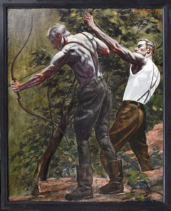 Archers: Academic Figurative Painting of Two Men Bow Hunting by Mark Beard