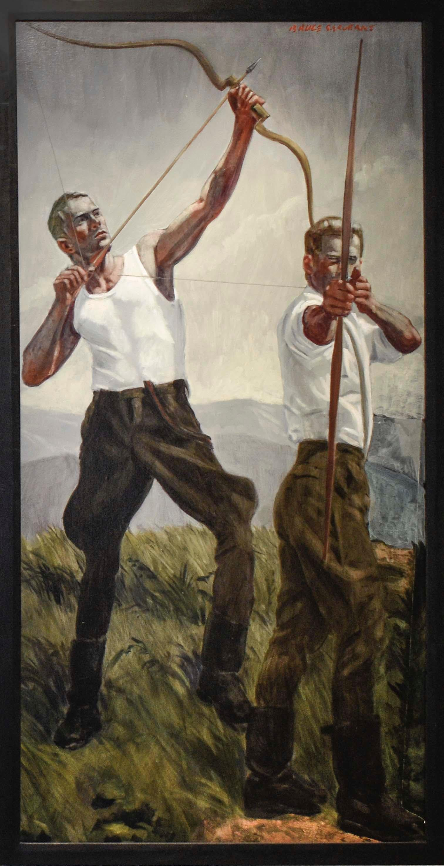 Archers: Figurative Painting of Two Sporting Men by Mark Beard, Bruce Sargeant