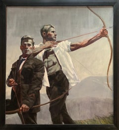 Archers II: Academic Figurative Painting of Two Men Bow Hunting by Mark Beard
